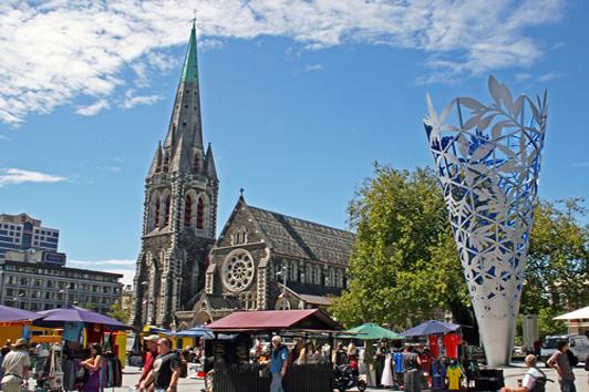 新西兰南岛-基督城大教堂广场 (Cathedral Square)