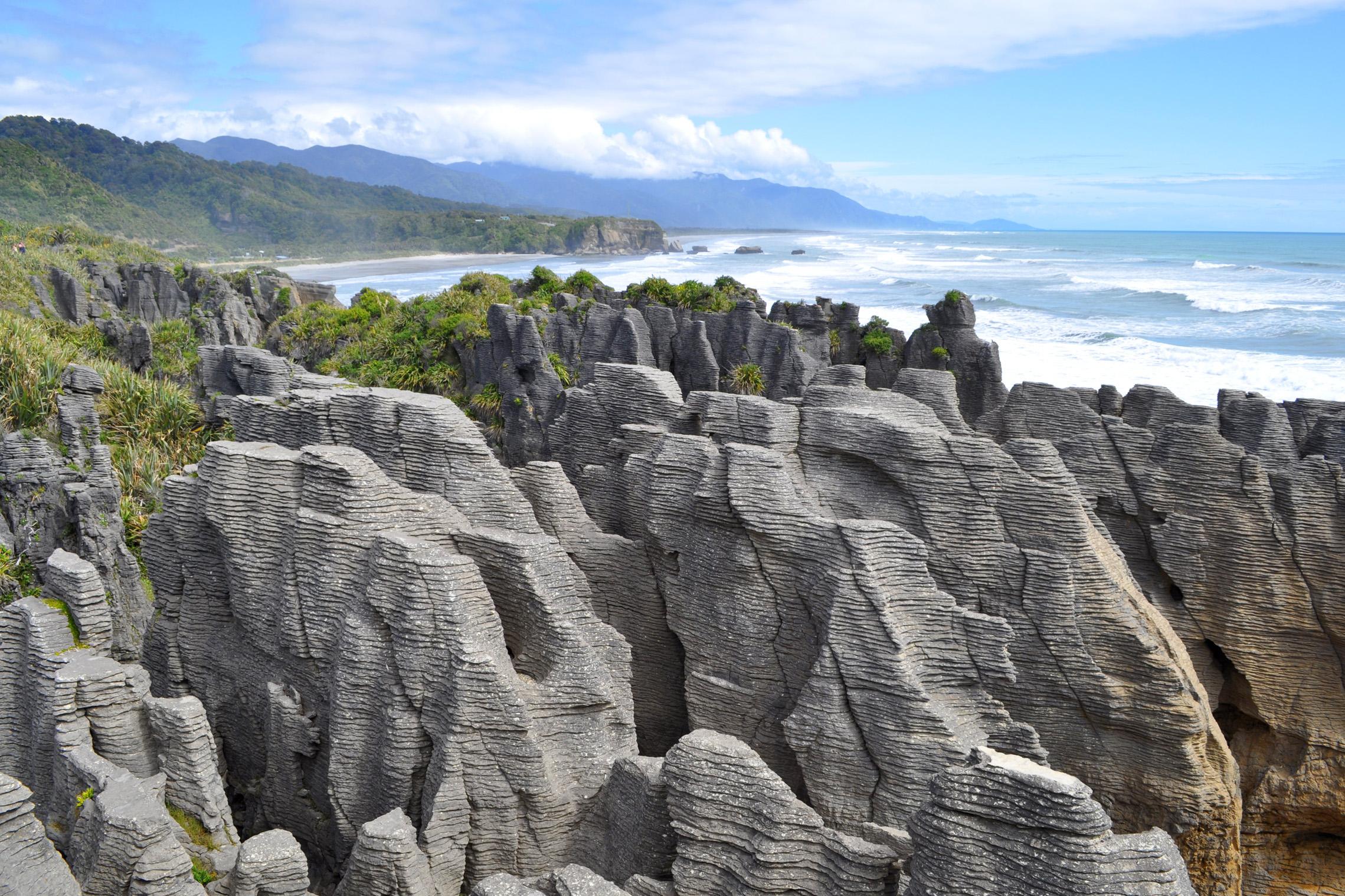 新西兰南岛-千层石岩 (Pancake Rocks)